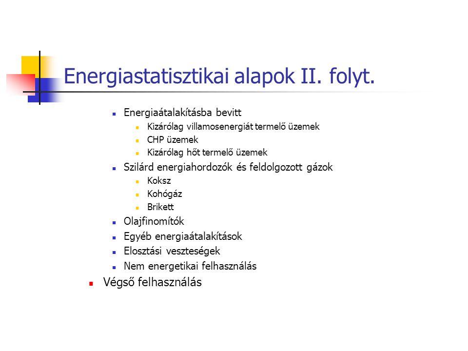 Energiastatisztikai alapok II. folyt.