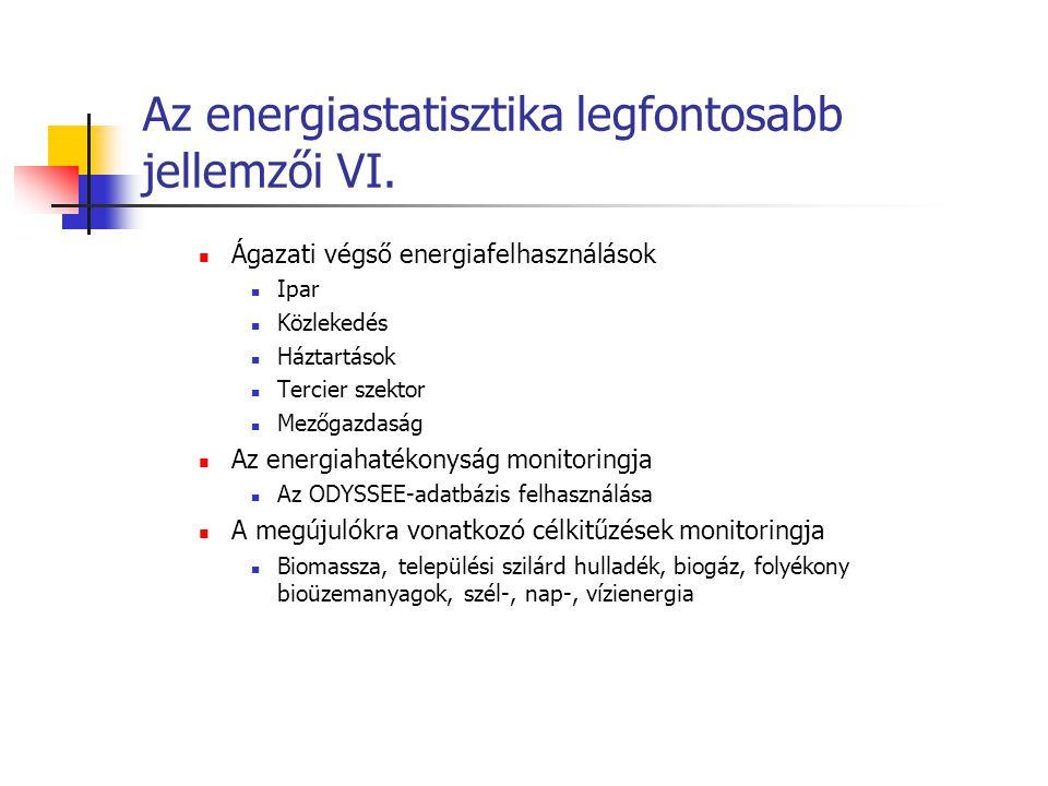 Az energiastatisztika legfontosabb jellemzői VI.