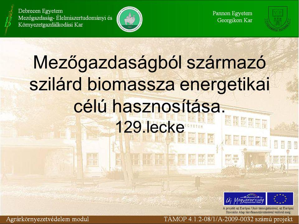 Mezőgazdaságból származó szilárd biomassza energetikai célú hasznosítása. 129.lecke