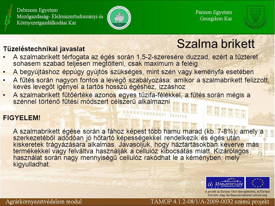Szalma brikett Tüzeléstechnikai javaslat