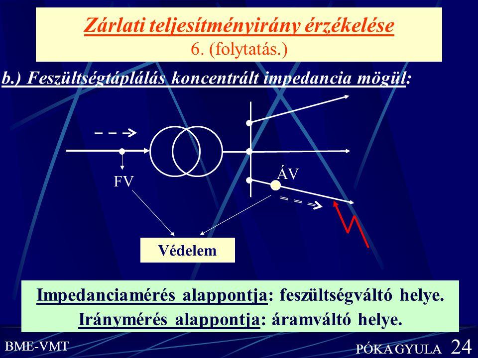 Zárlati teljesítményirány érzékelése 6. (folytatás.)
