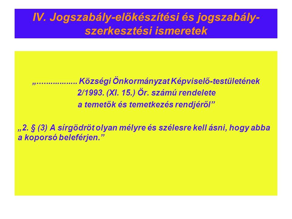 IV. Jogszabály-előkészítési és jogszabály-szerkesztési ismeretek