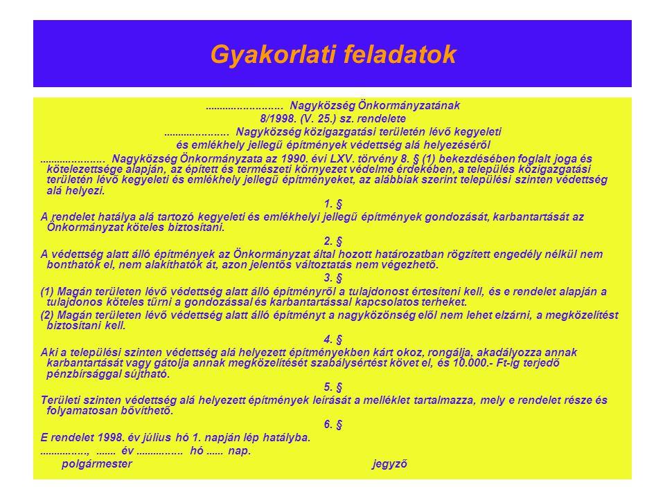 Gyakorlati feladatok .......................... Nagyközség Önkormányzatának. 8/1998. (V. 25.) sz. rendelete.
