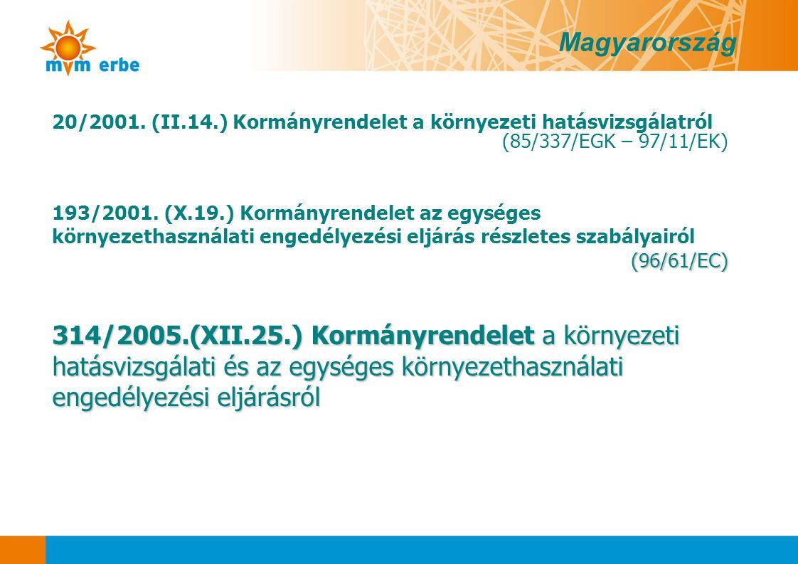 Magyarország 20/2001. (II.14.) Kormányrendelet a környezeti hatásvizsgálatról. (85/337/EGK – 97/11/EK)