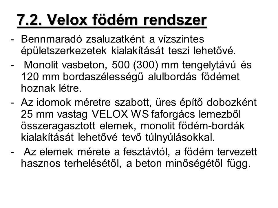 7.2. Velox födém rendszer Bennmaradó zsaluzatként a vízszintes épületszerkezetek kialakítását teszi lehetővé.