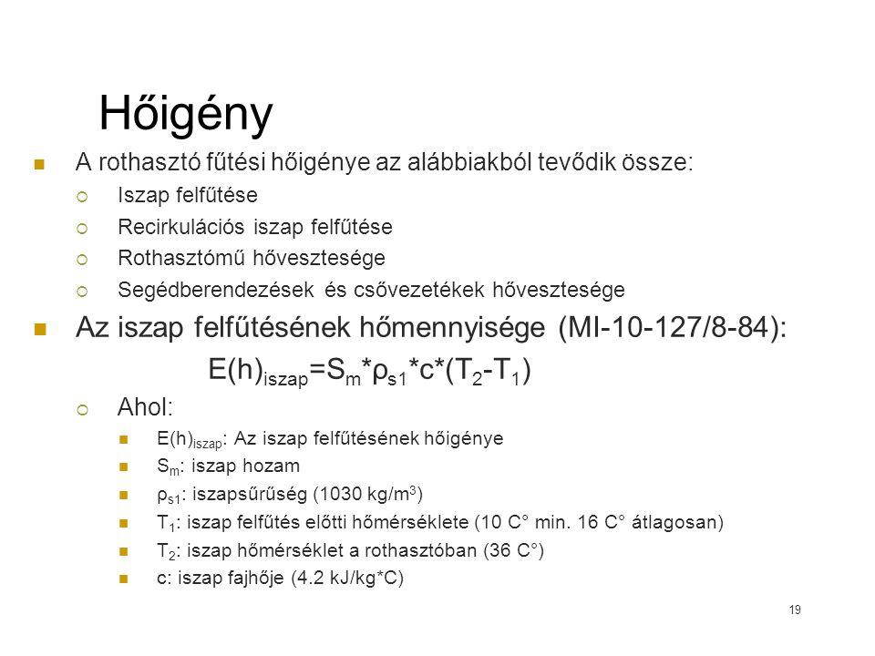 Hőigény Az iszap felfűtésének hőmennyisége (MI-10-127/8-84):