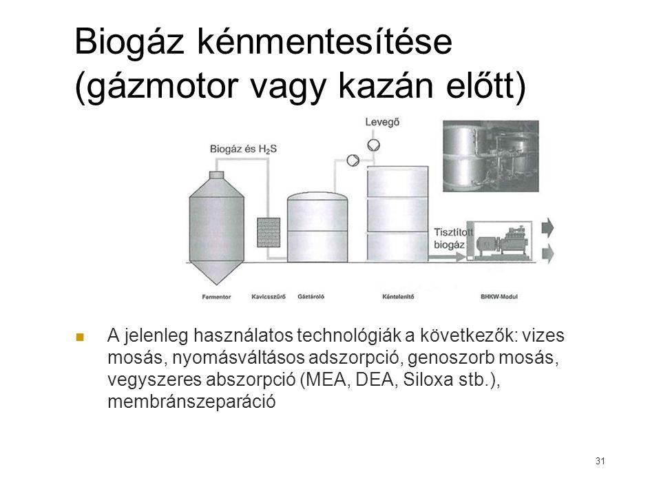 Biogáz kénmentesítése (gázmotor vagy kazán előtt)