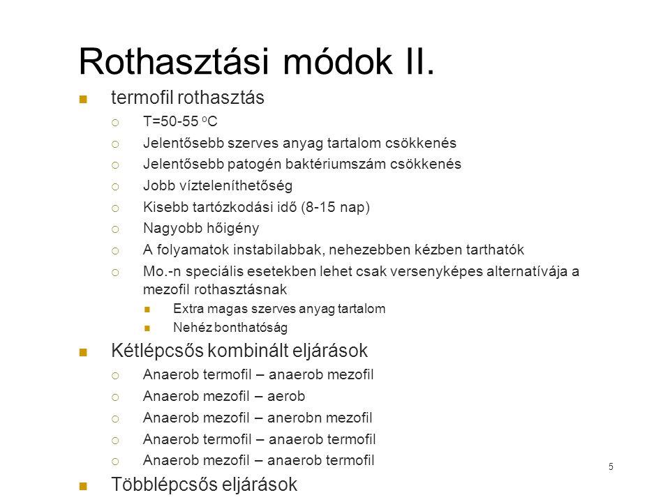 Rothasztási módok II. termofil rothasztás