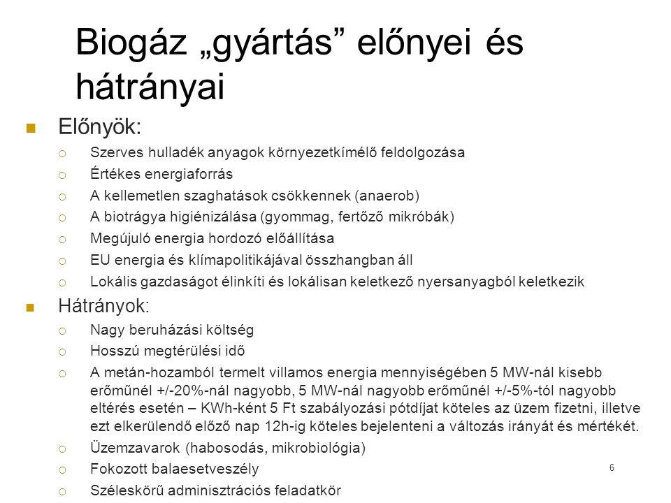 """Biogáz """"gyártás előnyei és hátrányai"""