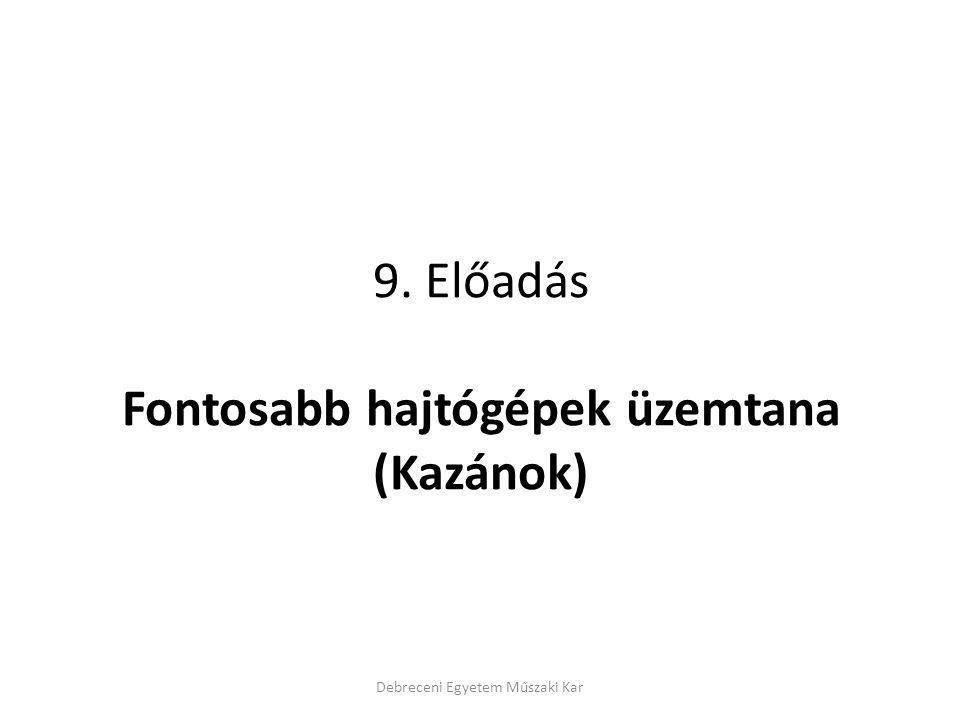 9. Előadás Fontosabb hajtógépek üzemtana (Kazánok)