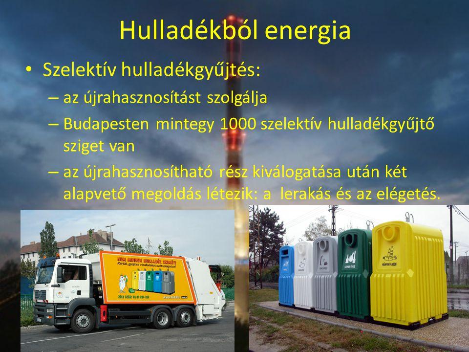Hulladékból energia Szelektív hulladékgyűjtés: