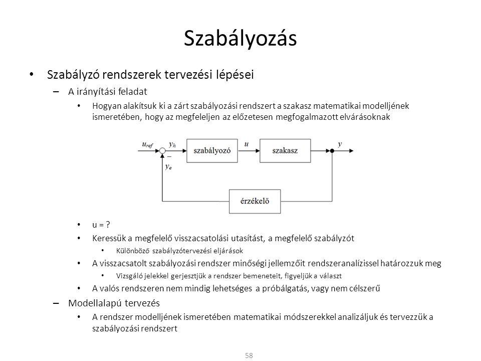 Szabályozás Szabályzó rendszerek tervezési lépései