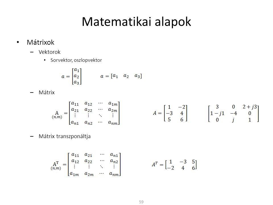 Matematikai alapok Mátrixok Vektorok Mátrix Mátrix transzponáltja