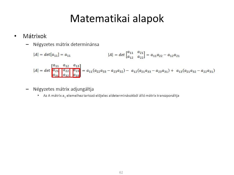 Matematikai alapok Mátrixok Négyzetes mátrix determinánsa