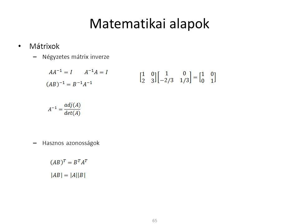 Matematikai alapok Mátrixok Négyzetes mátrix inverze