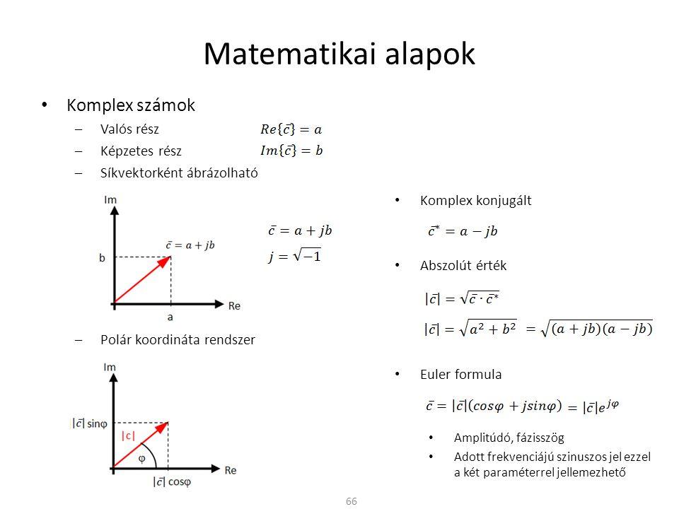 Matematikai alapok Komplex számok Valós rész Képzetes rész