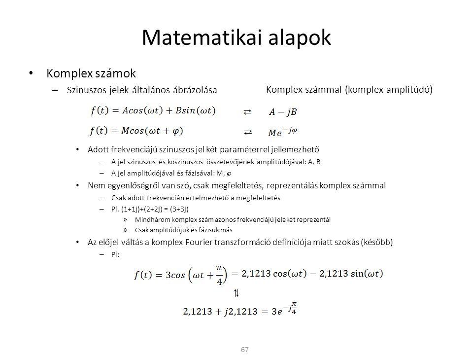 Matematikai alapok Komplex számok Szinuszos jelek általános ábrázolása