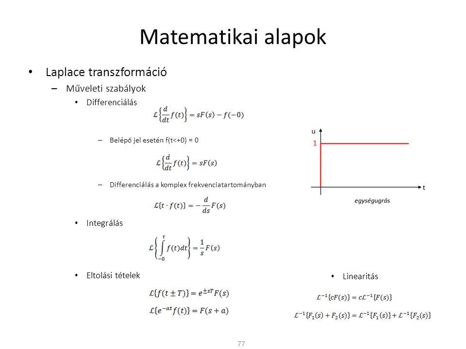 Matematikai alapok Laplace transzformáció Műveleti szabályok
