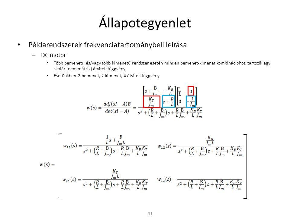 Állapotegyenlet Példarendszerek frekvenciatartománybeli leírása