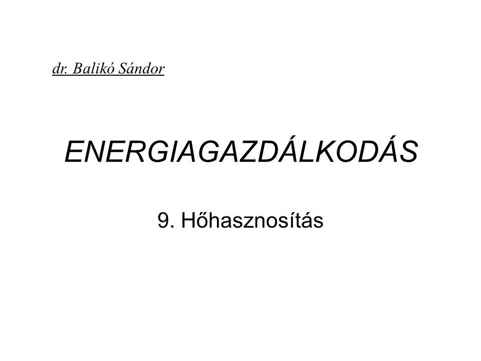 dr. Balikó Sándor ENERGIAGAZDÁLKODÁS 9. Hőhasznosítás