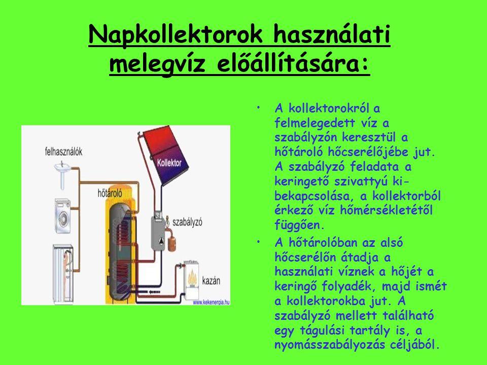 Napkollektorok használati melegvíz előállítására: