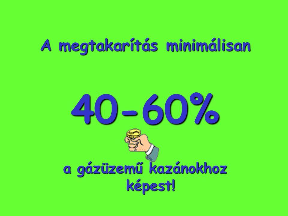A megtakarítás minimálisan a gázüzemű kazánokhoz képest!