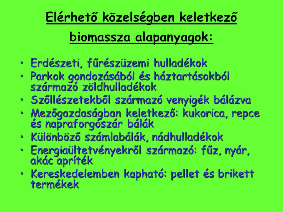 Elérhető közelségben keletkező biomassza alapanyagok: