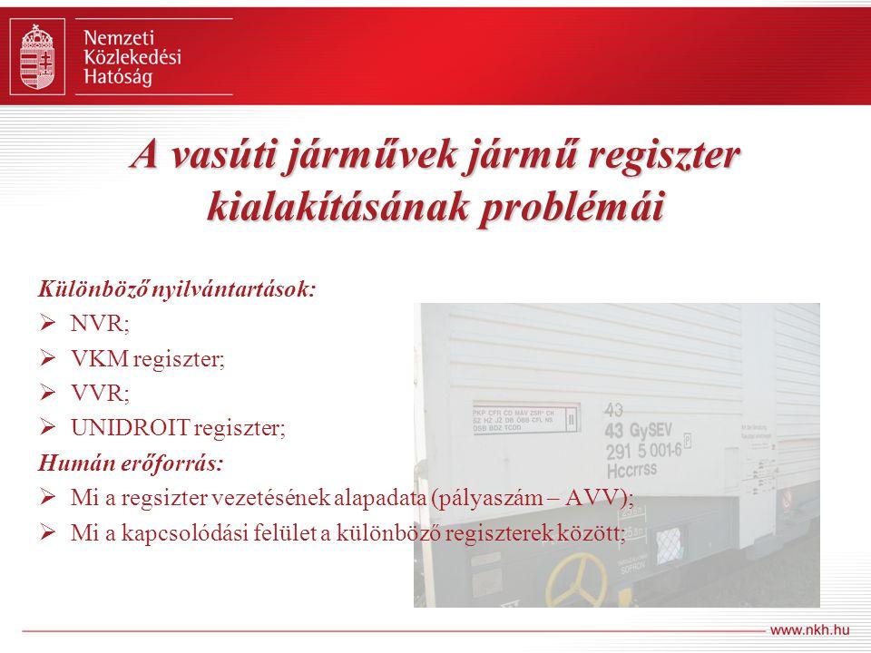 A vasúti járművek jármű regiszter kialakításának problémái