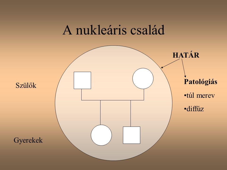 A nukleáris család HATÁR Patológiás túl merev diffúz Szülők Gyerekek