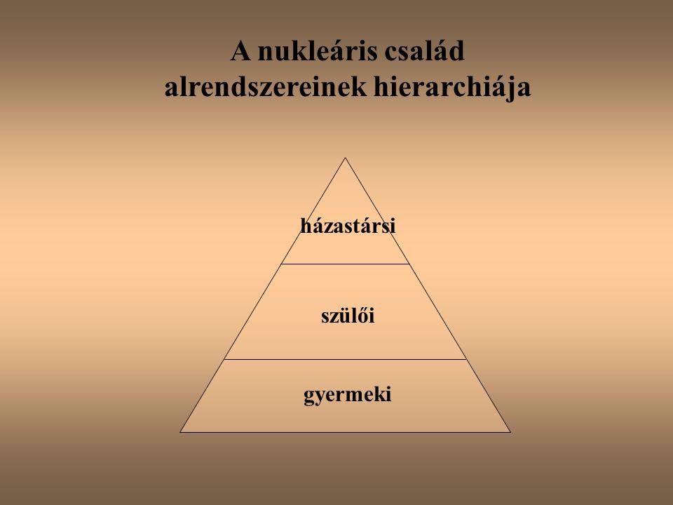 A nukleáris család alrendszereinek hierarchiája