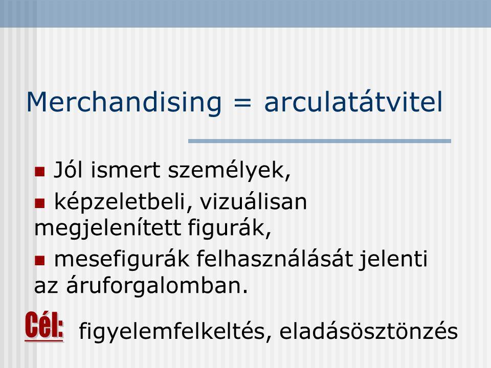 Merchandising = arculatátvitel