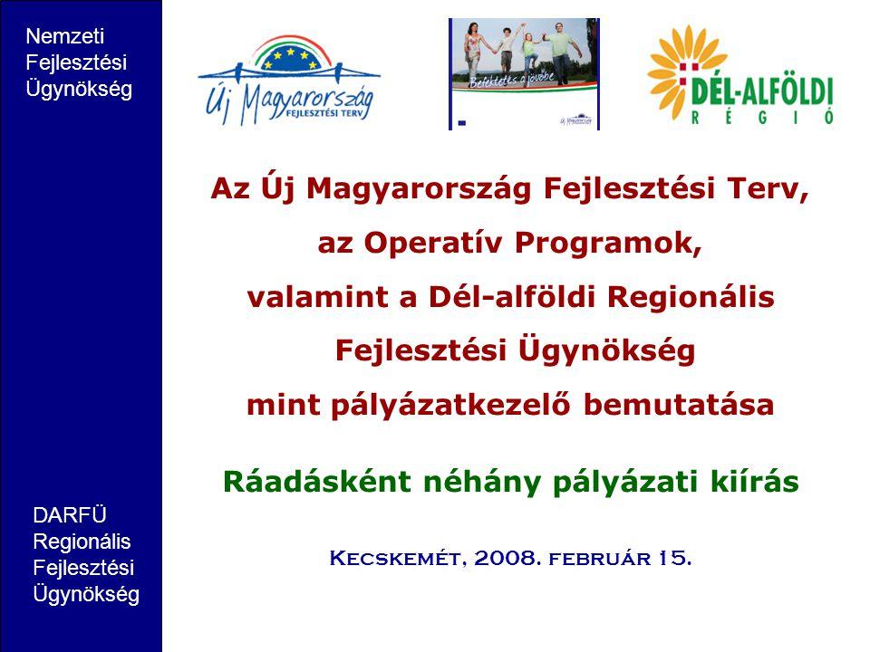 Az Új Magyarország Fejlesztési Terv, az Operatív Programok,