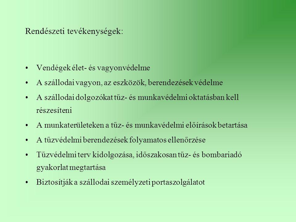 Rendészeti tevékenységek: