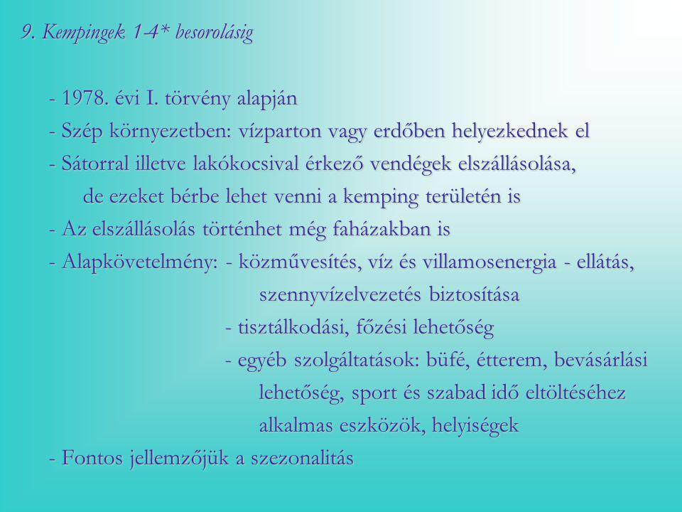 9. Kempingek 1-4* besorolásig