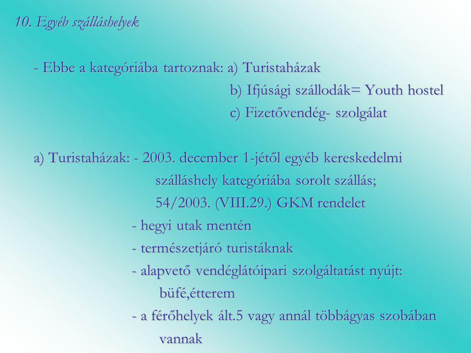 10. Egyéb szálláshelyek - Ebbe a kategóriába tartoznak: a) Turistaházak. b) Ifjúsági szállodák= Youth hostel.
