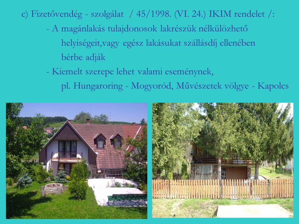c) Fizetővendég - szolgálat / 45/1998. (VI. 24