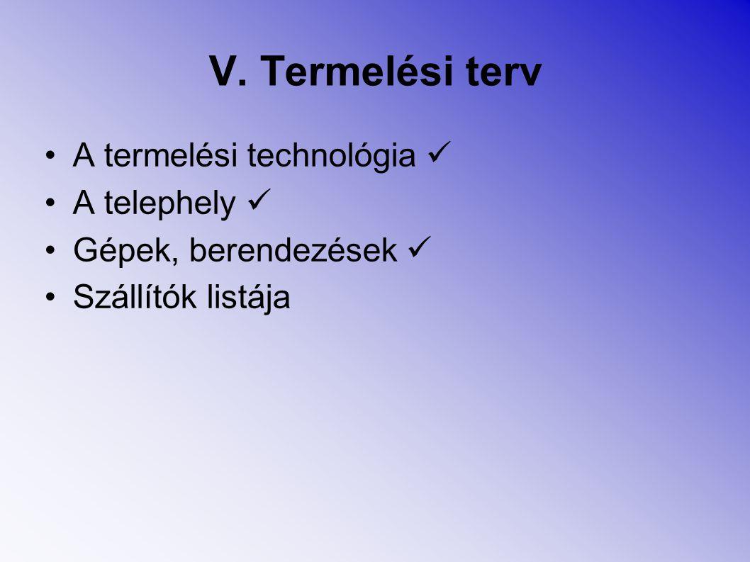 V. Termelési terv A termelési technológia  A telephely 
