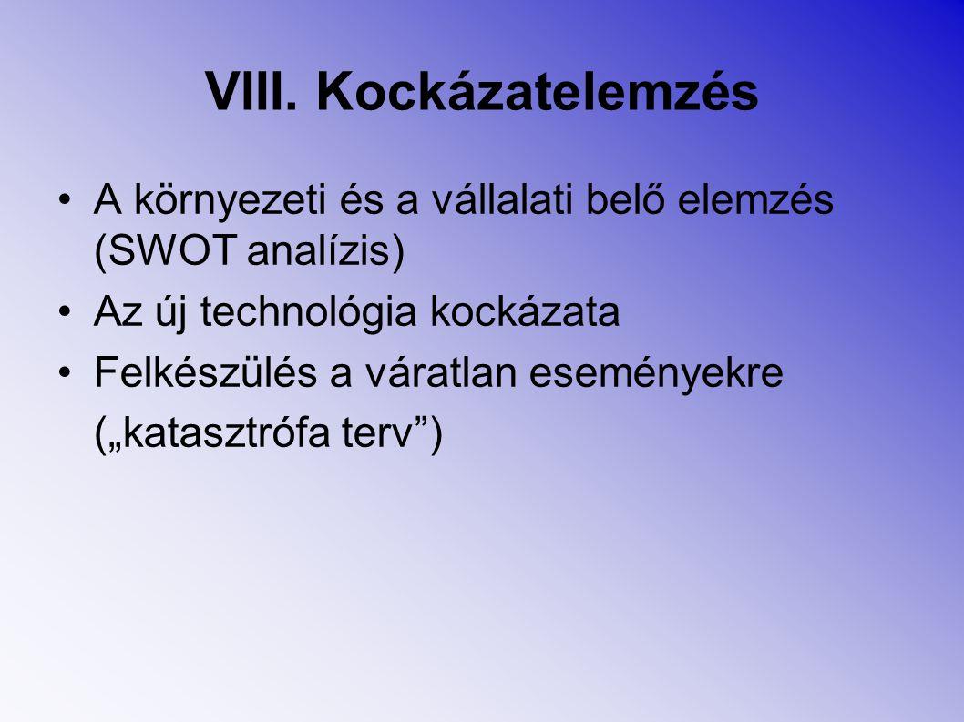 VIII. Kockázatelemzés A környezeti és a vállalati belő elemzés (SWOT analízis) Az új technológia kockázata.