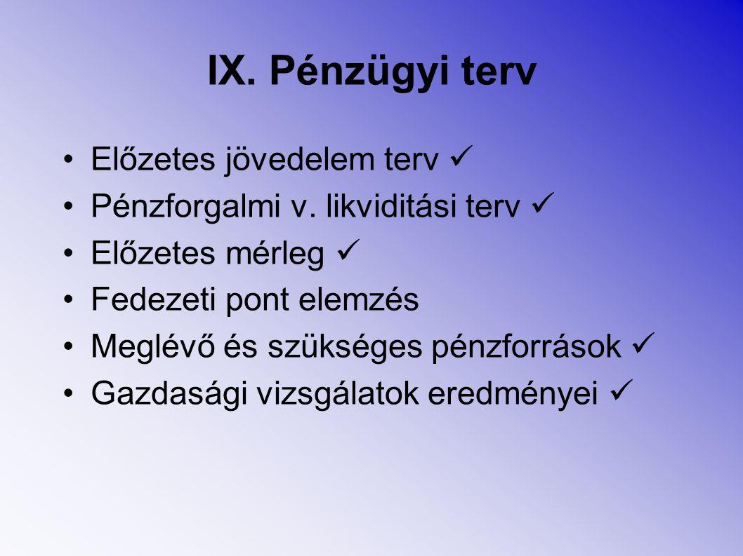 IX. Pénzügyi terv Előzetes jövedelem terv 