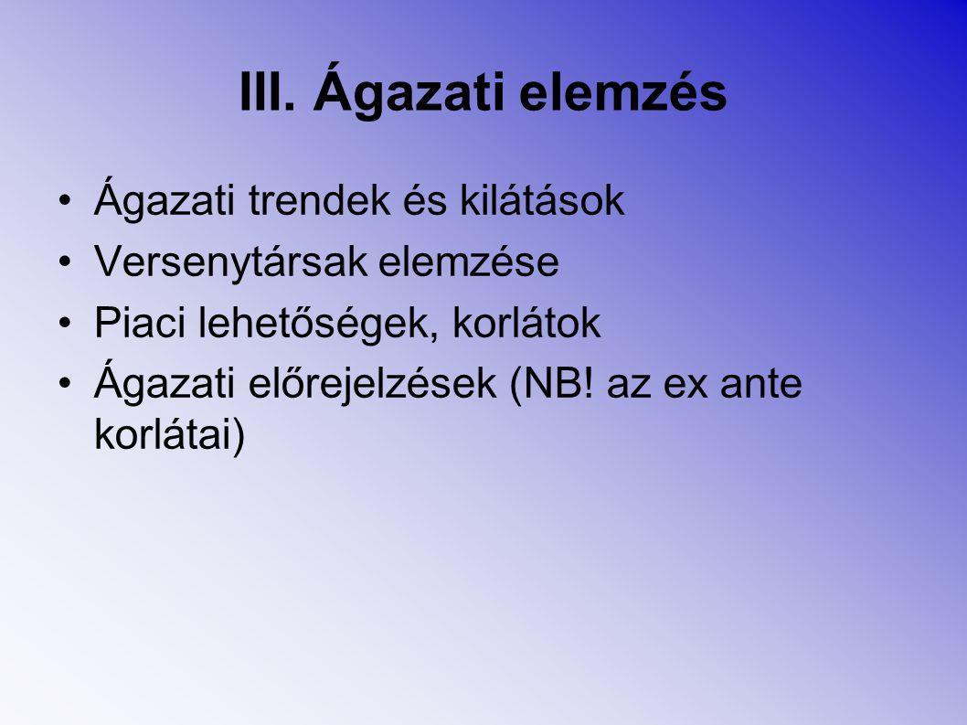 III. Ágazati elemzés Ágazati trendek és kilátások