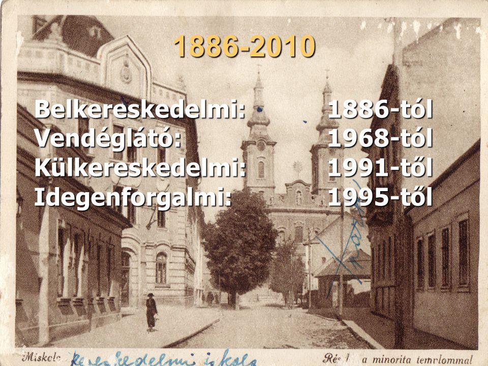 1886-2010 Belkereskedelmi: 1886-tól Vendéglátó: 1968-tól