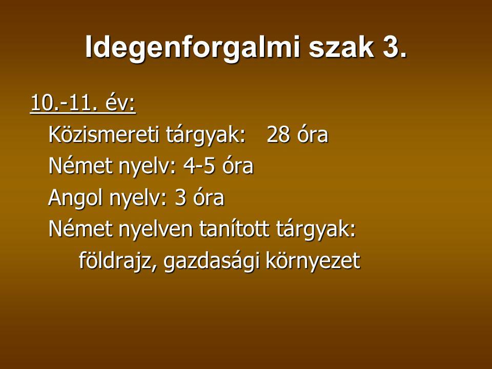 Idegenforgalmi szak 3. 10.-11. év: Közismereti tárgyak: 28 óra