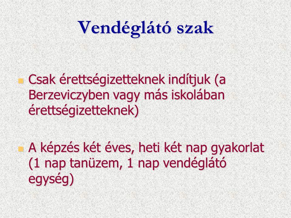 Vendéglátó szak Csak érettségizetteknek indítjuk (a Berzeviczyben vagy más iskolában érettségizetteknek)
