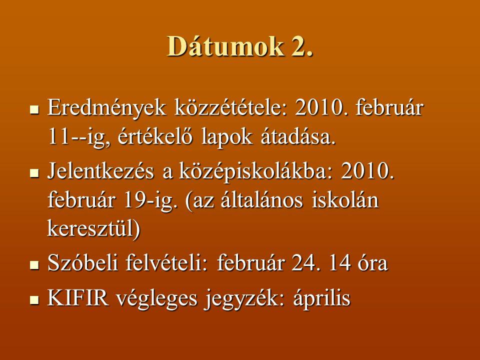 Dátumok 2. Eredmények közzététele: 2010. február 11--ig, értékelő lapok átadása.