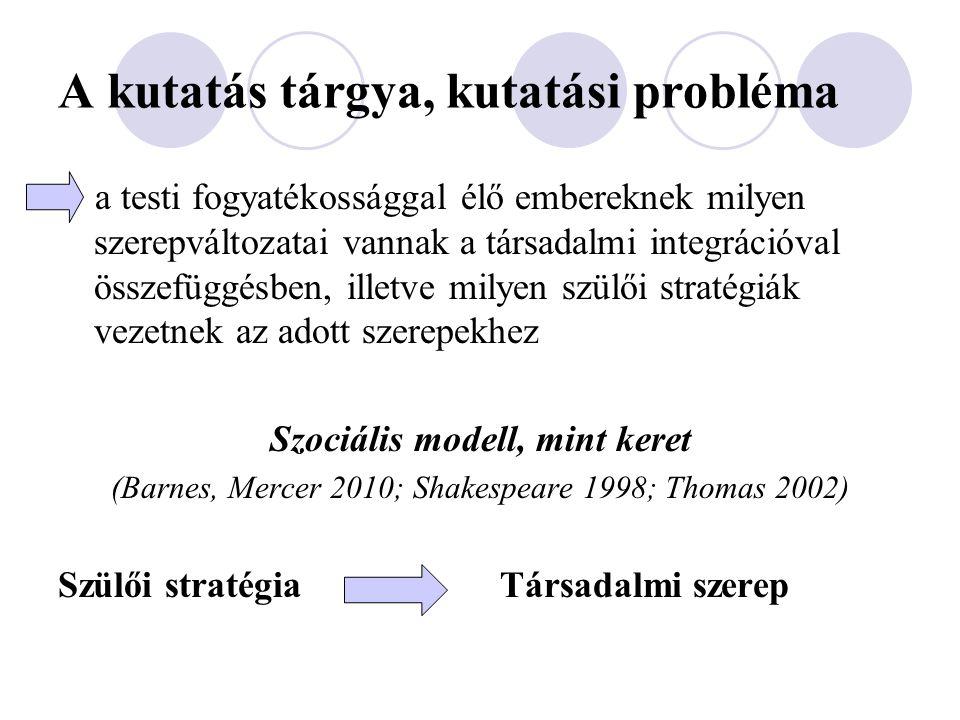 A kutatás tárgya, kutatási probléma