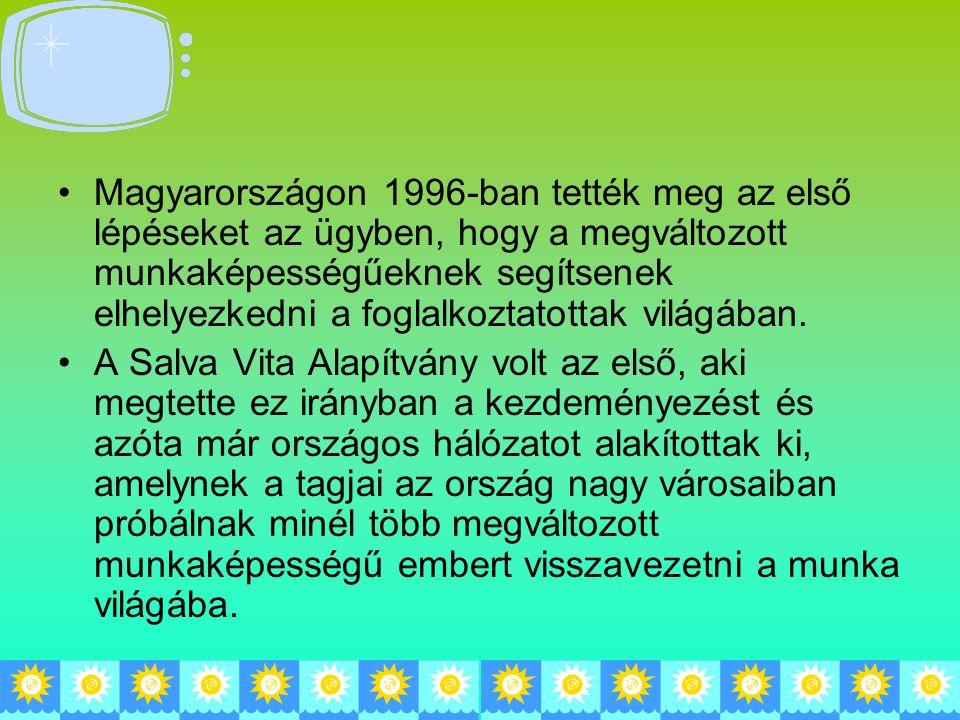 Magyarországon 1996-ban tették meg az első lépéseket az ügyben, hogy a megváltozott munkaképességűeknek segítsenek elhelyezkedni a foglalkoztatottak világában.