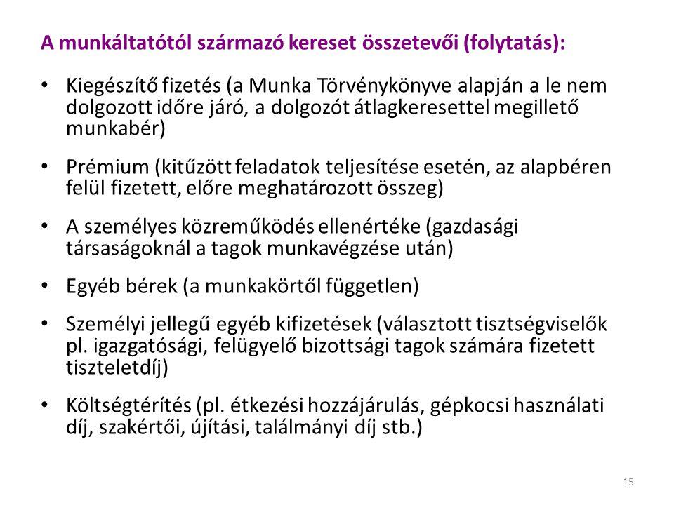 A munkáltatótól származó kereset összetevői (folytatás):