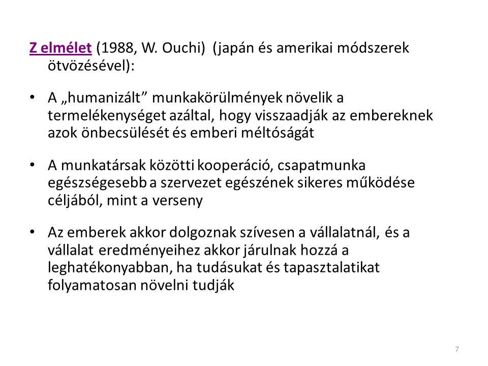 Z elmélet (1988, W. Ouchi) (japán és amerikai módszerek ötvözésével):