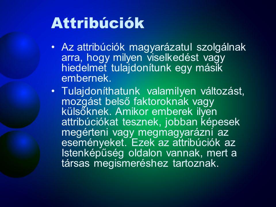 Attribúciók Az attribúciók magyarázatul szolgálnak arra, hogy milyen viselkedést vagy hiedelmet tulajdonítunk egy másik embernek.