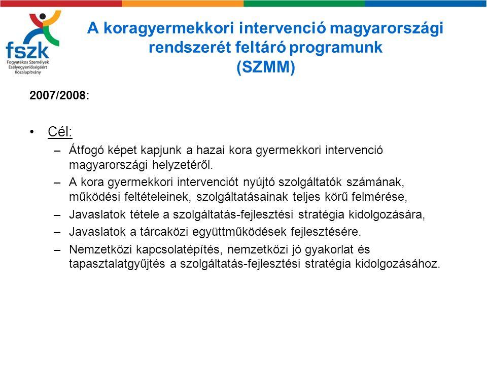 A koragyermekkori intervenció magyarországi rendszerét feltáró programunk (SZMM)